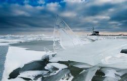 Het ijs en de vuurtoren van de plank Royalty-vrije Stock Foto's