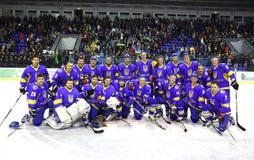 Het ijs-hockey van de Oekraïne nationaal team Stock Afbeeldingen