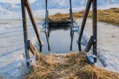 Het ijs op het meer 19 Januari, voor het baden in de winter wordt gekookt die Royalty-vrije Stock Fotografie