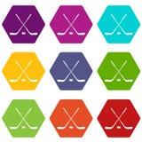 Het ijshockey plakt pictogram vastgestelde kleur hexahedron Royalty-vrije Stock Foto's