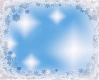 Het ijzige frame van kristalKerstmis met sneeuwvlokken Stock Afbeeldingen