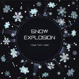 Het ijzige malplaatje van de de explosieverduistering van de de wintersneeuwvlok lichte feestelijke Royalty-vrije Stock Foto's