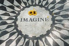 Het Imagine mozaïek in Strawberry Fields binnen Stock Foto