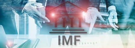 Het IMF Internationaal Monetair Fonds Financiën en bankwezenconcept 2 vector illustratie