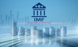 Het IMF Internationaal Monetair Fonds Financi?n en bankwezenconcept royalty-vrije stock afbeeldingen