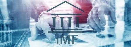 Het IMF Internationaal Monetair Fonds Financi?n en bankwezenconcept De foto bevat lawaai vector illustratie