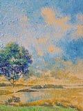 Het impressionisme het acrylolie van het bezinningsmeer verleidelijke schilderen Stock Fotografie