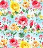 Het impressionistolieverfschilderij nam bloesembloemen op wit groundseamless patroon toe Stock Fotografie