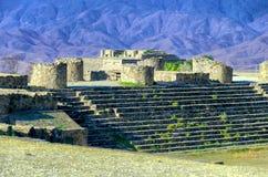 Het inbouwen van het Suken-Terras in Monte Alban, Oaxaca stock afbeelding