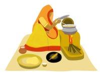 Het Indische dame Villlage koken op aarden fornuis vector illustratie