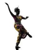 Het Indische dansende silhouet van de vrouwendanser Stock Afbeeldingen