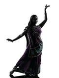 Het Indische dansende silhouet van de vrouwendanser Stock Afbeelding