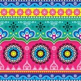Het Indische en Pakistaanse ontwerp van de vrachtwagenkunst, het naadloze vectorpatroon van Kenwijsjevrachtwagens, kleurrijke blo Royalty-vrije Stock Afbeeldingen