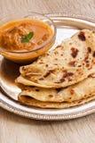 Het Indische gelaagde vlakke brood van Paratha stock fotografie