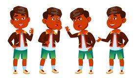 Het Indische Jonge geitje van de Jongenskleuterschool stelt Vastgestelde Vector Speelse Positieve Kleine Baby Voor Presentatie, D stock illustratie