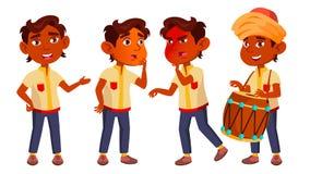 Het Indische Jonge geitje van de Jongenskleuterschool stelt Vastgestelde Vector Weinig kind Het hebben van pret motherhood Voor R vector illustratie