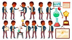 Het Indische Jonge geitje van de Jongensschooljongen stelt Vastgestelde Vector Middelbare schoolkind De kinderen bestuderen Ontde vector illustratie