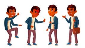 Het Indische Jonge geitje van de Jongensschooljongen stelt Vastgestelde Vector Middelbare schoolkind schoolkind September, School stock illustratie