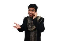 Het Indische spreken op telefoon 3   royalty-vrije stock fotografie