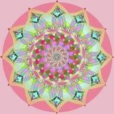 Het Indische uitstekende beeld van zonnebloemmandala, pastelkleurenpalet, duidelijke zachte roze achtergrond royalty-vrije illustratie