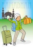Het Indonesische moslimjong geitje homecoming Royalty-vrije Stock Foto