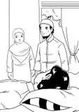 Het Indonesische paar bezoekt de zieken Royalty-vrije Stock Afbeeldingen