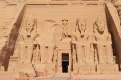 Het indrukwekkende oude monument in Abu Simbel Stock Foto