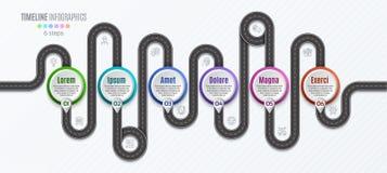 Het infographic concept van de 6 stappenchronologie van de navigatiekaart Royalty-vrije Stock Afbeeldingen