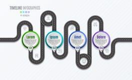 Het infographic concept van de 4 stappenchronologie van de navigatiekaart Stock Foto's