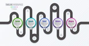 Het infographic concept van de 5 stappenchronologie van de navigatiekaart Royalty-vrije Stock Afbeeldingen