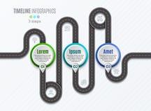 Het infographic concept van de 3 stappenchronologie van de navigatiekaart Stock Foto