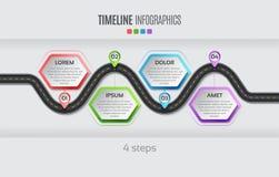 Het infographic concept van de 4 stappenchronologie van de navigatiekaart Vectorillu vector illustratie