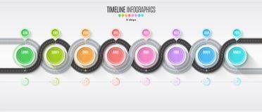 Het infographic concept van de 8 stappenchronologie van de navigatiekaart Windende roa Royalty-vrije Stock Afbeelding