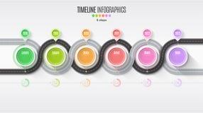 Het infographic concept van de 6 stappenchronologie van de navigatiekaart Windende roa Royalty-vrije Stock Afbeelding