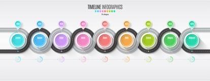 Het infographic concept van de 9 stappenchronologie van de navigatiekaart Windende roa Stock Afbeeldingen