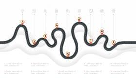 Het infographic concept van de 9 stappenchronologie van de navigatiekaart Windende roa vector illustratie