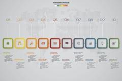 het infographic element van de 10 stappenchronologie kan de 10 stappen infographic, vectorbanner voor werkschemalay-out worden ge Stock Fotografie