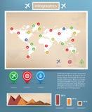 Het infographic malplaatje van de wereldkaart Royalty-vrije Stock Afbeelding
