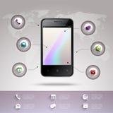 Het infographic malplaatje van Smartphone Stock Afbeelding