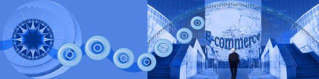 Het ingaan van de wereld van Elektronische handel WW vector illustratie