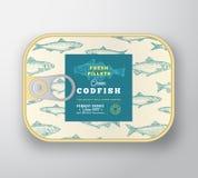 Het ingeblikte Malplaatje van het Vissenetiket De abstracte Vectorcontainer van het Vissenaluminium met Etiketdekking Verpakkings stock afbeeldingen