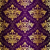 Het ingewikkelde gouden-op-Purpere naadloze patroon van Sari Stock Afbeeldingen