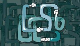 Het ingewikkelde vennootschap van de handschok holding in bedrijven multilaterale samenwerking vector illustratie