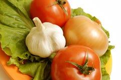 Het ingrediënt van de salade op een plaat Stock Foto's