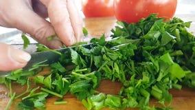 Het ingrediënt van de de verfrissingsalade van de peterselieplak het op dieet zijn de gezonde houten langzame motie van de raadsv stock footage