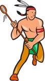 Het inheemse Amerikaanse Beeldverhaal van de Lacrossespeler Royalty-vrije Stock Afbeelding
