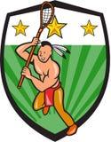 Het inheemse Amerikaanse Schild van de Lacrossespeler vector illustratie