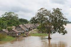 Het inheemse Dorp van Amazonië Royalty-vrije Stock Foto