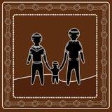 Het inheemse kunst vector schilderen Gelukkig familieconcept Royalty-vrije Stock Afbeelding