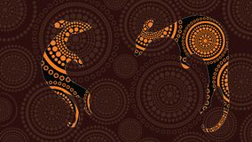 Het inheemse kunst vector schilderen met kangoeroe Gebaseerd op inheemse stijl van de achtergrond van de landschapspunt royalty-vrije illustratie